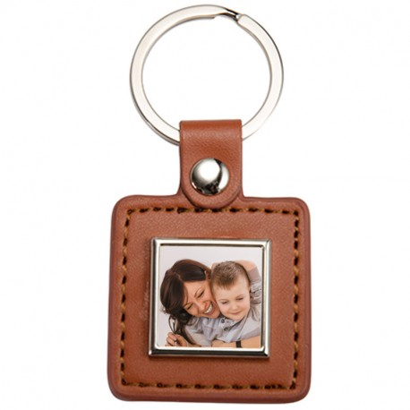 Porte clé cuir brun carré photo