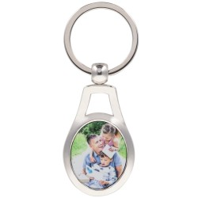 Porte clef acier ovale avec photo personnalisée