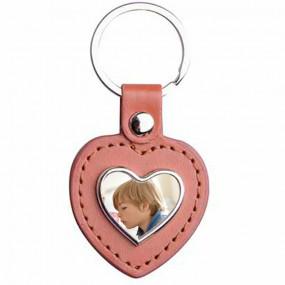 Porte clef cuir coeur brun personnalisable photo