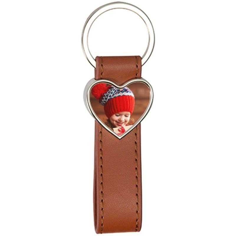 Porte clef cuir long brun coeur personnalisable