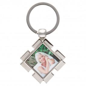Porte clé carré photo métal