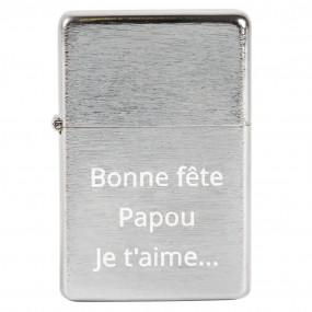 Briquet métal argenté avec gravure texte