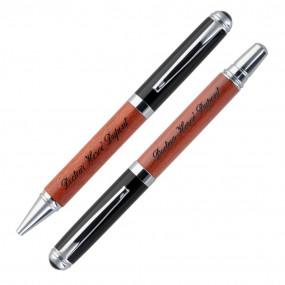 Parure deux stylos bois gravés