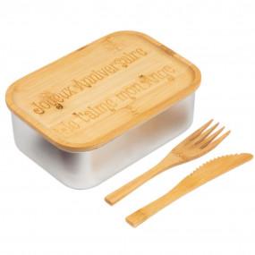 Lunch box acier et couvercle bambou personnalisé
