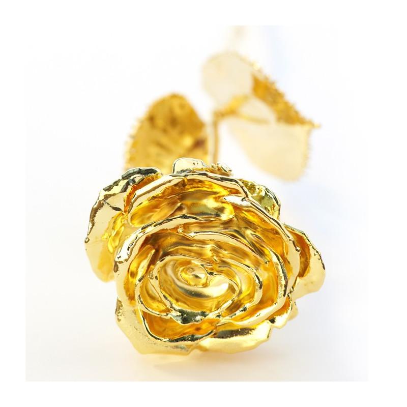 Rose en or dans coffret gravé