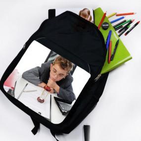 Sac à dos noir avec rabat imprimé photo