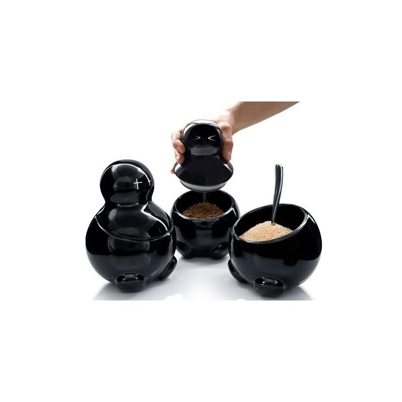 Pots à café originaux noir en forme de diablotin