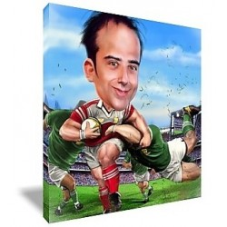 Caricature rugby personnalisable photo