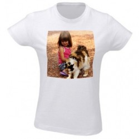 Tee shirt femme blanc avec photo