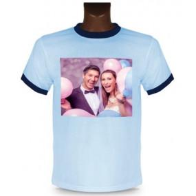 Tee shirt bleu clair et bordure noir à personnaliser