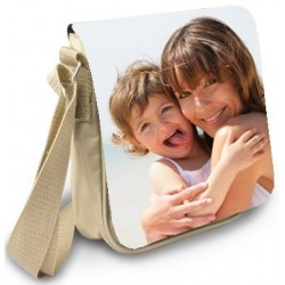 Besace beige avec photo sur rabat
