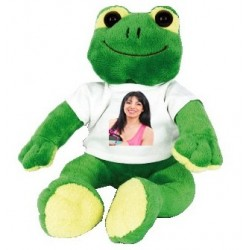 Peluche grenouille verte avec photo