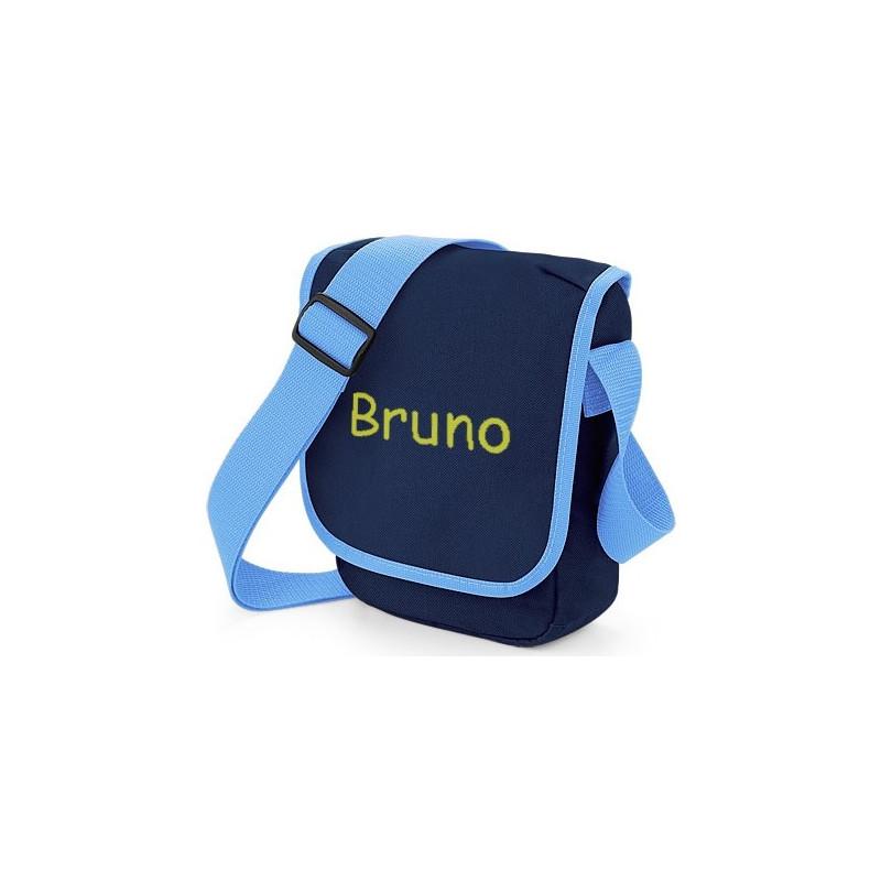 Petit sac bleu brodé