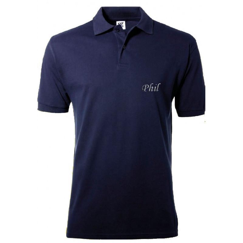 Polo bleu avec broderie texte
