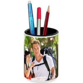 Pot à crayons blanc céramique personnalisé