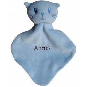 Chat bleu en doudou brodé