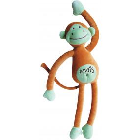 Doudou singe marron avec texte brodé