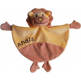 Doudou lion avec broderie texte