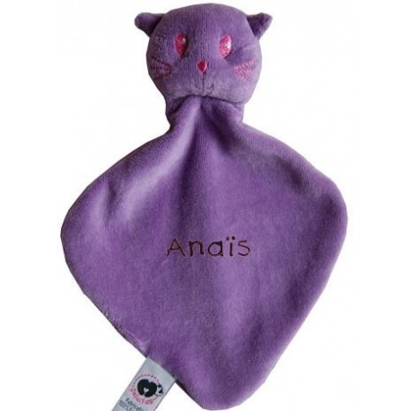 Doudou chat violet brodé