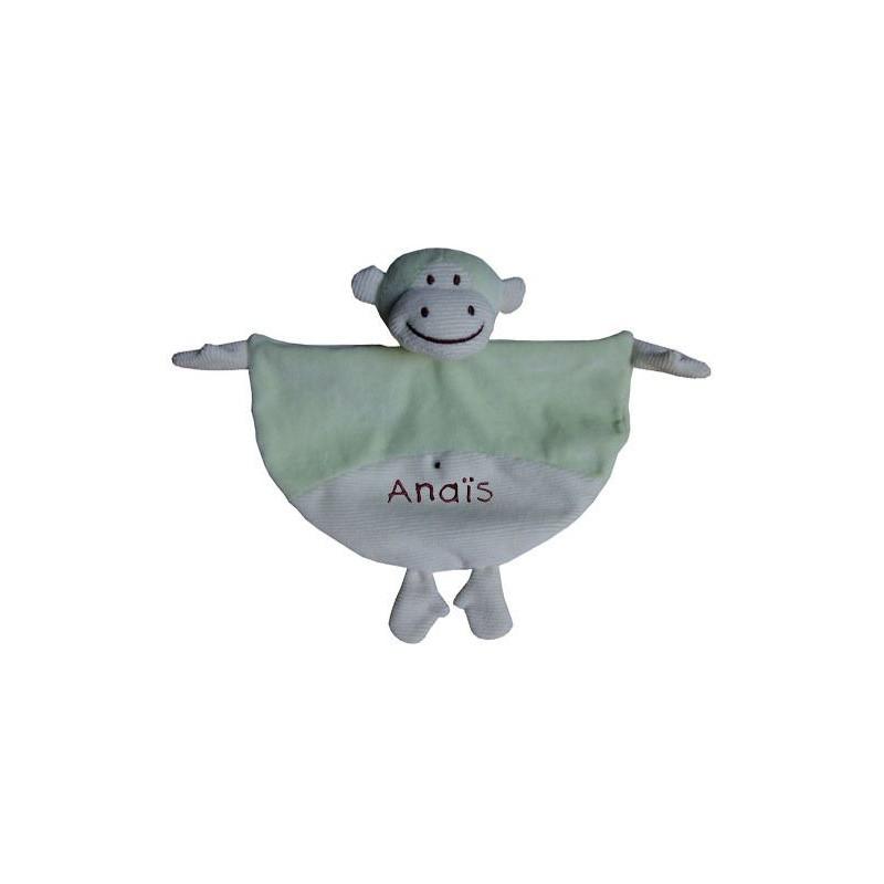 Doudou singe vert prénom brodé