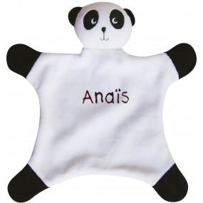 Doudou panda prénom brodé