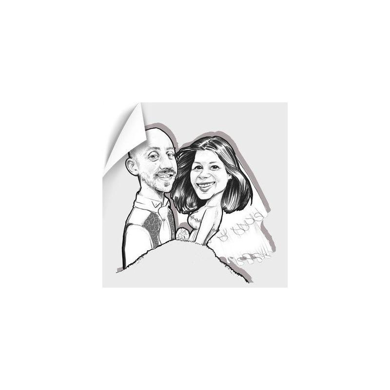 Poster caricature couple noir et blanc