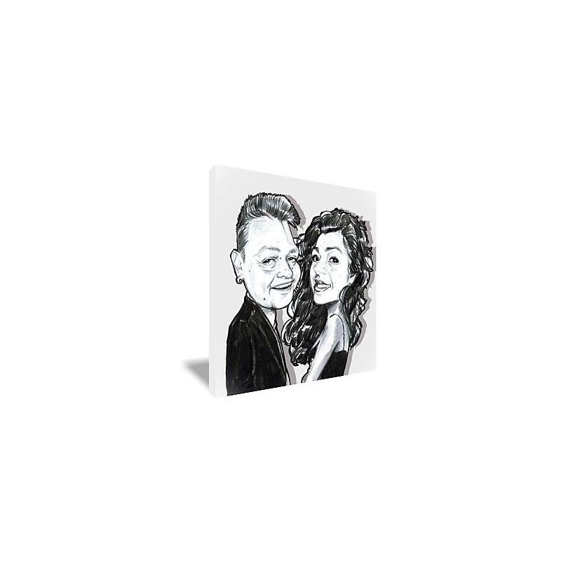 Portrait caricature couple NB toile