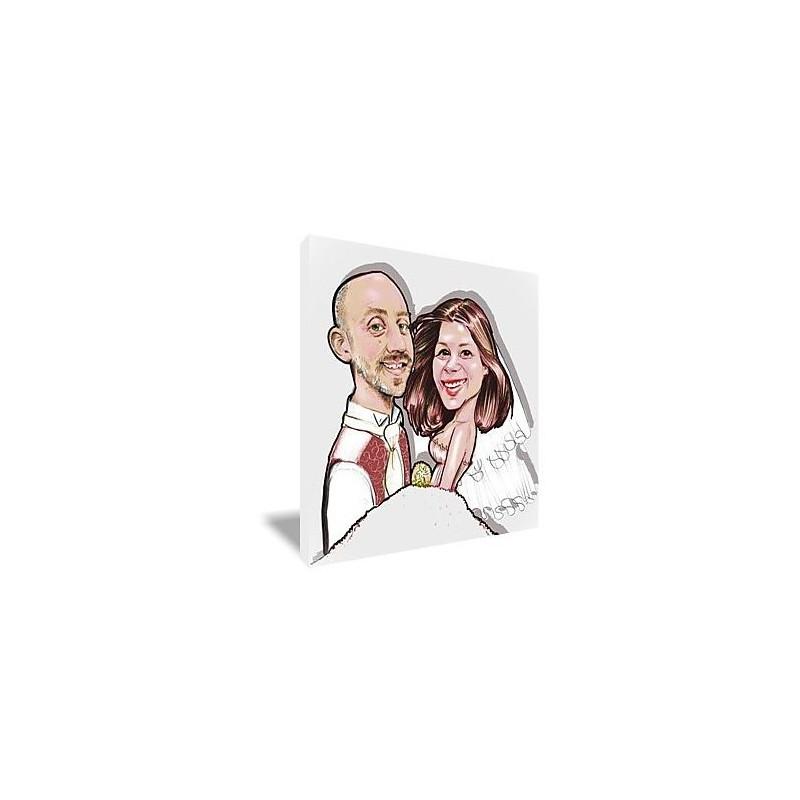 Toile caricature couple couleur