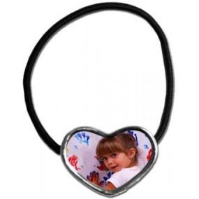 Elastique cheveux avec photo en coeur