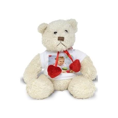 Peluche ours blanc love photo