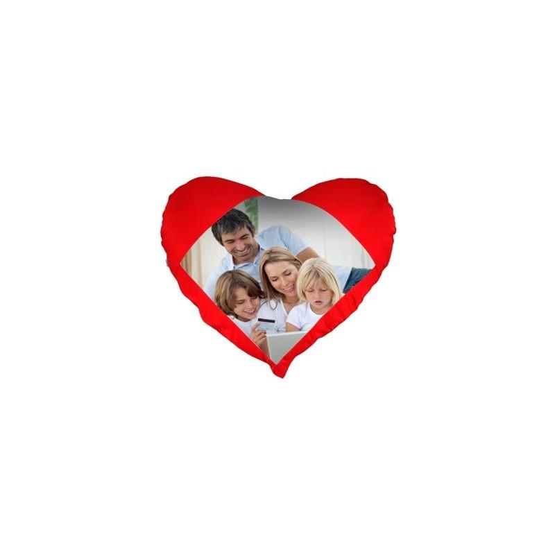 Coussin coeur rouge avec photo
