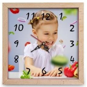 Horloge carrée bois photo