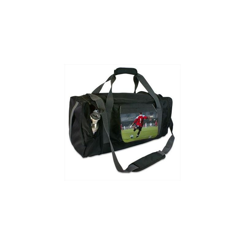Grand sac de sport noir avec rabat imprimé