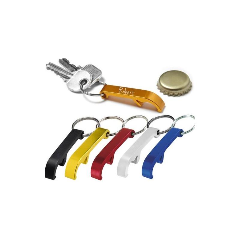 Porte clé mini décapsuleur coloré gravé
