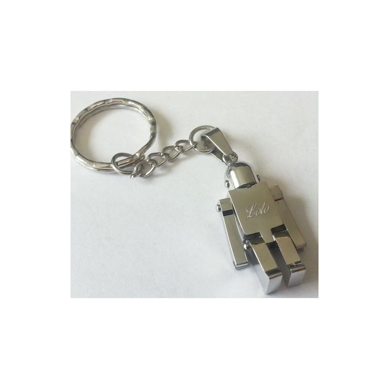 Porte clé gravé robot