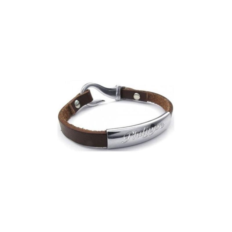 Bracelet cuir prénom gravé