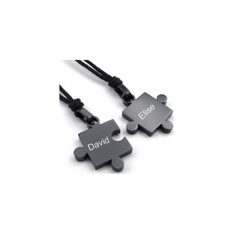 2 colliers puzzle noir gravé
