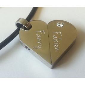 Pendentif coeur tournant gravé