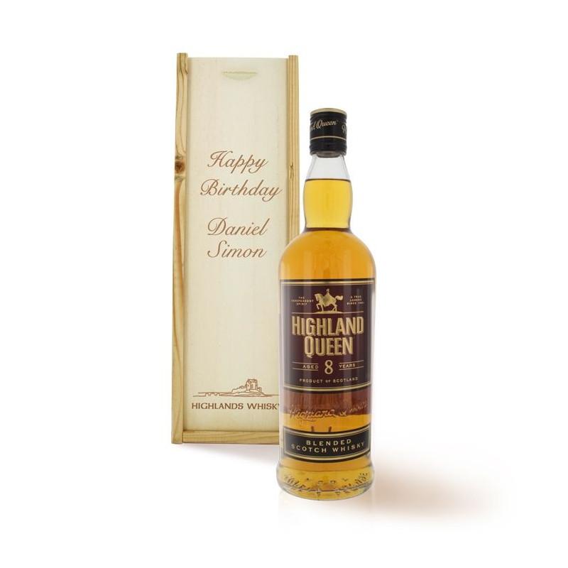 Bouteille whisky dans coffret gravé