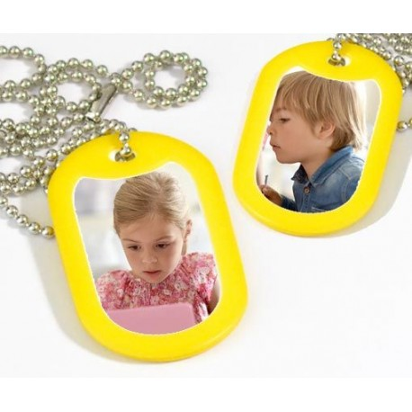 Collier dog tag photos recto verso protection jaune