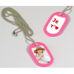 Dog Tag photo recto verso bord rose