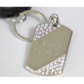 Porte clé plaque argenté avec strass et texte gravé