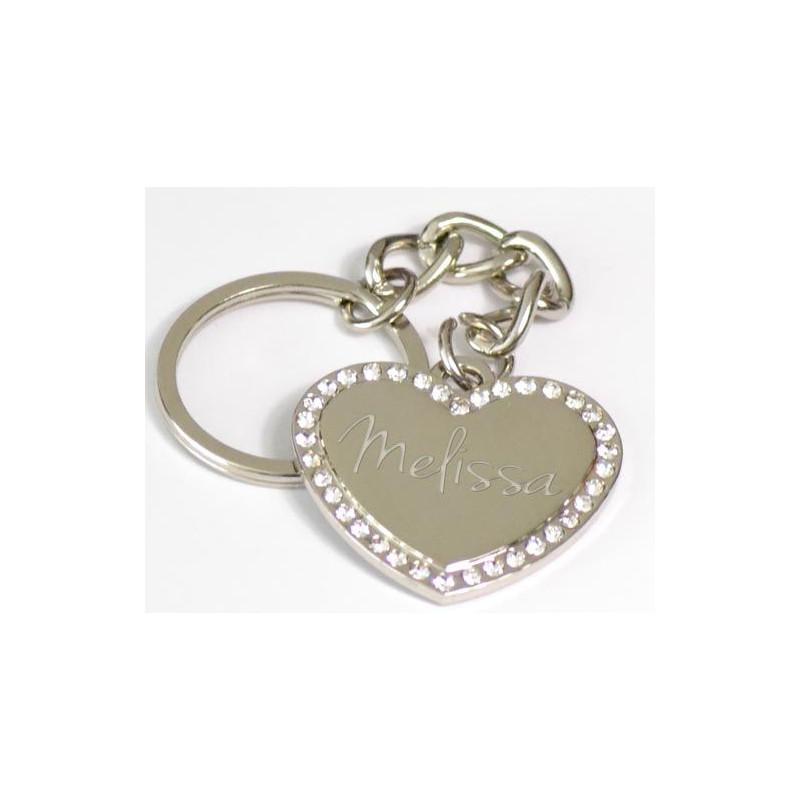 Porte clé coeur strass argenté avec texte à graver