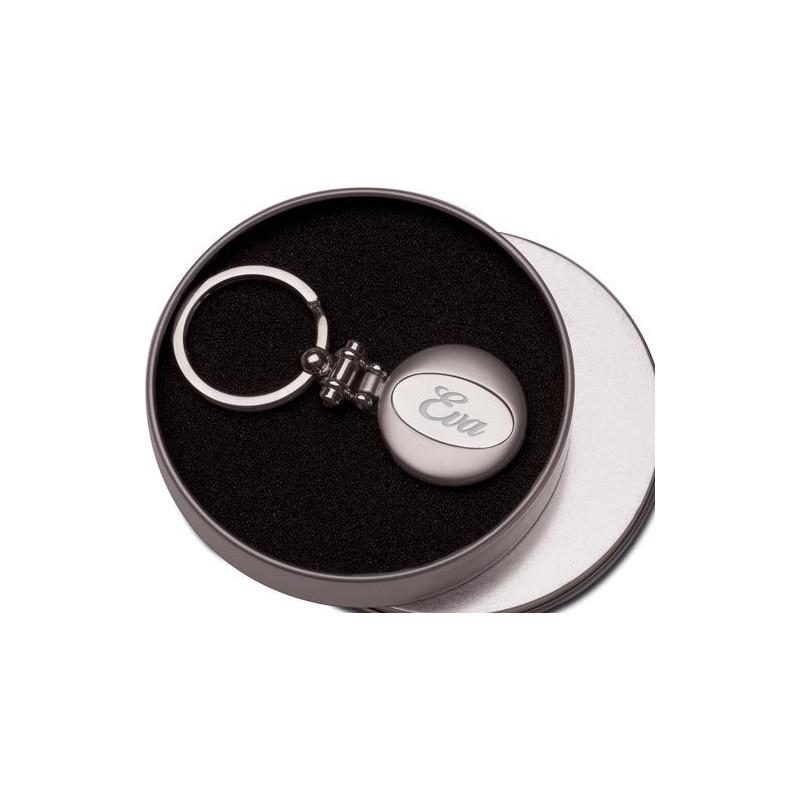 Porte clef circulaire avec texte gravé au centre