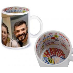 Mug avec intérieur anniversaire personnalisé