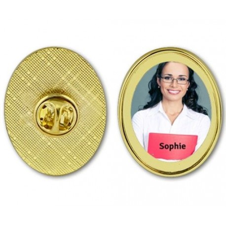 Pin 39 s forme ovale personnalis photo - Objet personnalise photo ...